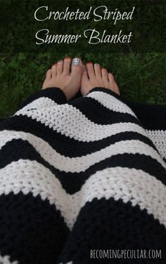 Crocheted striped summer blanket. Great beginner project! Easy cotton throw