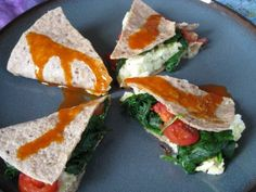breakfast quesadilla with egg whites, cheese, and spinach