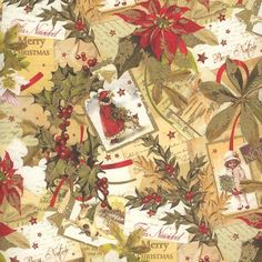 Golden Christmas Poinsettia and Holly Collage Paper ~ Kartos Italy