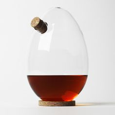 This egg-shaped spirit decanter by London designer Sebastian Bergne can be positioned at different angles without spilling its contents.