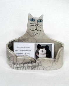 Mermaid business card holder all things mermaid pinterest business card holder raku fired cat hand made black gray white pottery 28 reheart Images