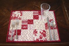 Red & White Quilted Placemats set of 4 by MagpieQuilts on Etsy, $38.00