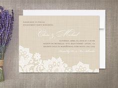 Linen and Lace Engagement Party Invitations by rockpaperdove