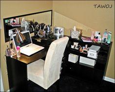 DIY MakeUp Table for under $100 Computer desk Walmart $50  Bookshelf Walmart $15  Door mirror Walmart $10  Gooseneck table lamp chrome $15  Black office drawer organizer $5
