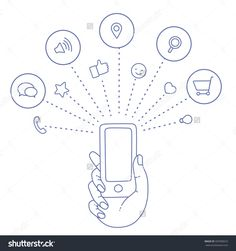 Hand Keeps Mobile And Set Icons. Demonstration Touch Screen Of Display For Market. Internet Social Network In Touch Smartphone. Vector Flat Illustration Cloud Service And Touch Technology Smartphone - 335990672 : Shutterstock