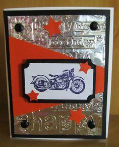 handmade birthday motorcycle harley davidson card