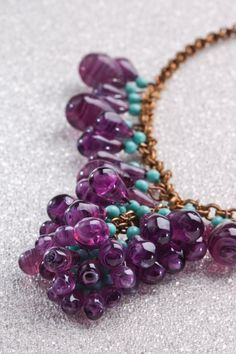 VINTAGE ART GLASS Necklace with Amethyst and by BraeHillAntiques, $365.00