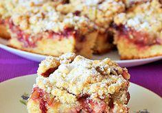Ciasto drożdżowe z rabarbarem, dżemem wiśniowym i waniliową kruszonką - DoradcaSmaku.pl Muffin, Food And Drink, Candy, Cooking, Breakfast, Kitchen, Morning Coffee, Muffins, Sweets