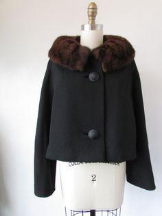 1950's black wool jacket with mink fur collar // vintage 50's black jacket with fur // medium // The Shelley Jacket by VivianVintage8 on Etsy