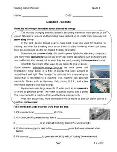 This lesson is adjusted for fourth grade reading comprehension. The theme is science and the topic is alternative energy, specifically solar power and hydro-power. The purpose of this reading is to enhance students' vocabulary and also reading for meaning by remembering key information.