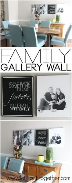 Family Gallery Wall from Let's Get Together - awesome idea to show the growth of a family in chronological order. Love the quote! Includes a free printable so you can recreate the wall in your own home. #home #decor #family #gallerywall #printable