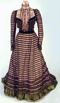 c. 1898 Lord & Taylor Exciting Lavender and Lt. Green Striped and Beaded 2-piece Afternoon Gown