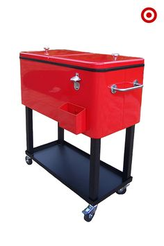 Summer is all about spending time outside with friends and family, and what's better for that than a vintage-inspired cooler on wheels? It's the perfect accessory to any backyard get-together and a spot to store bottles, cans and glassware for cool, refreshing drinks. Bonus: there's a built-in bottle opener!