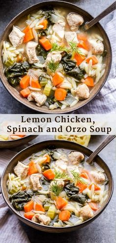 Factors You Need To Give Thought To When Selecting A Saucepan One Pot Lemon Chicken, Spinach And Orzo Soup Is Fresh, Filling And Wonderful For An Easy Weeknight Dinner That's Perfect For A Chilly Night Best Soup Recipes, Chili Recipes, Chicken Recipes, Dinner Recipes, Healthy Recipes, Dinner Ideas, Healthy Eats, Healthy Soups, Favorite Recipes