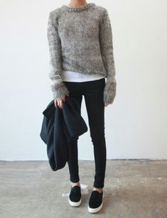 Marled #gray cozy #sweaters #slipon #sneakers are #sportcouture #chic.