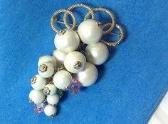 Large Faux Pearls & Rhinestones Brooch Unusual by SweetBettysBling