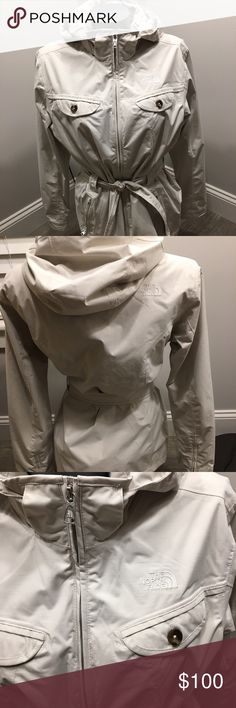 The North Face 💯% authentic Hyvent like new off white belted with zip off hood. 2 pockets - 1 inside pocket. Perfect for spring. The North Face Jackets & Coats Trench Coats