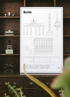 Op deze strakke designposters vind je de belangrijkste gebouwen van populaire steden Roomed | roomed.nl