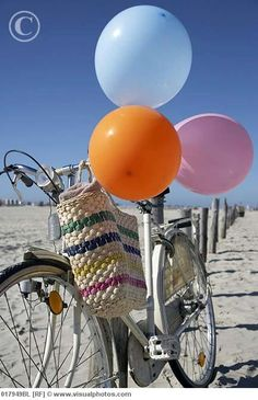 Balloons and Bike at the Beach