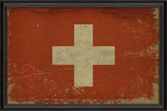 Swiss Flag Framed Print x Vintage Flag, Vintage Signs, Swiss Flag, Framed Artwork, Framed Prints, Red Cross, Picture Frames, Paper Crafts, Artist
