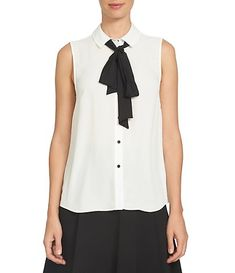 Sleeveless - Womens Cece Tie-Neck Point Collar Sleeveless Blouse New Ivory Bow Tie Blouse, Sleeveless Blouse, Dressy Tops, Casual Tops, Collar Dress, Collar Top, Denim Fashion, Blouses For Women, Clothes