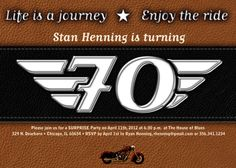 Birthday invitation retirement party surprise party motorcycle retirement party invitations life is a journey birthday invitations retirement party motorcycle party invitations harley davidson party filmwisefo Image collections
