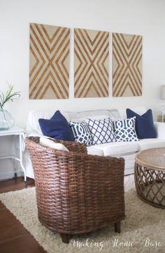 Large wall decor ideas for living room oversized wall art large wall Diy Wand, Diy Wall Decor, Diy Home Decor, Art Decor, Creative Office, Mur Diy, Grand Art Mural, Living Room Decor, Bedroom Decor