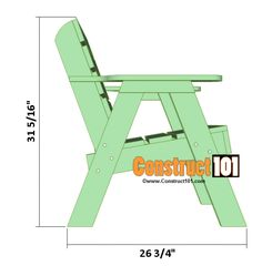 Lawn chair plans and matching side table, includes illustrations, measurements, shopping list, and cutting list. Adirondack Chair Plans, Outdoor Furniture Plans, Lawn Furniture, Rustic Furniture, Wooden Lawn Chairs, Garden Chairs, Garden Benches, Diy Chair, Diy Patio