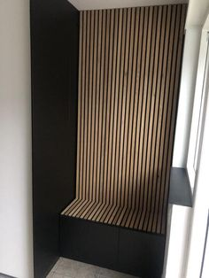 Wooden slat wall, wall panels & acoustic panels at Wood Slat Wall, Wooden Wall Panels, Wood Panel Walls, Wooden Slats, Wood Paneling, Modern Wall Paneling, Flur Design, Wall Design, House Design