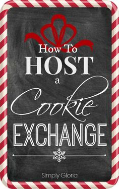 Simplify your holiday baking by hosting a holiday Cookie Exchange!  Invite a group of friends and have each bring one kind of their favorite holiday cookie to share.  At the party, e... Christmas Exchange Ideas, Work Christmas Party Ideas, Christmas Party Activities, Christmas Parties, Christmas Trivia, Christmas Time, Christmas Foods, Christmas Events, Christmas 2016