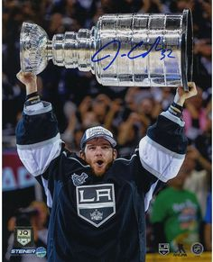 Jonathan Quick Signed 2014 Raising Stanley Cup 8x10 Photo