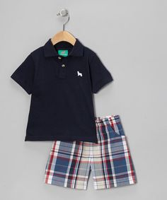 Take a look at this Navy Polo & Plaid Shorts - Infant, Toddler & Boys by Sweet Teas Children's Boutique on #zulily today!