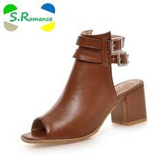 d06e6586776530 S.Romance Plus Size 34-43 New Fashion Women Sandals Gladiator Mid Squre Heel