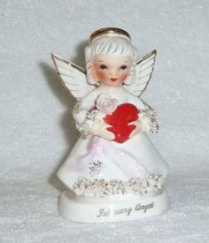 VINTAGE NAPCO FEBRUARY SPAGHETTI ANGEL GIRL VALENTINE FIGURINE
