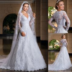 Vestidos De Noiva com manga 2014 V Neck manga comprida A linha De Casamento Vestido Vestido De Casamento Vestido De Noiva Vestido De Noiva