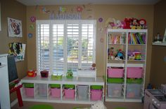 Best 22 Cheerful Kids Playroom Design Ideas : Adorable Tan Kids Playroom Design Inspiration with White Cupboard and White Shelving also Butt...