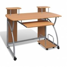 Mobile Computer Desk Pull Out Tray Brown Finish Furniture Office    Enjoy this Fantastic Item. At Luxury Home Brands WE always Find Great Stuff for you :)