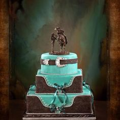 Western wedding cake. @Sam McHardy Taylor Miller omg lets get us some cowboys now!!!