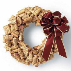 wine cork wreath for christmas easy craft ideas DIY christmas wreath ideas