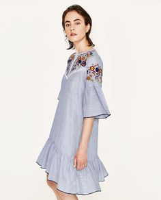Image 5 of EMBROIDERED STRIPED DRESS from Zara