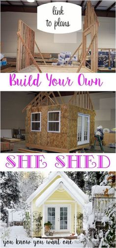 How to Build a Gorgeous She Shed, complete with link to step by step plans. Great for a home office, glorified garden shed or as an art / craft studio. Come see our photo album of building this one. FlowerPatchFarmho... #howtobuildagardenshed