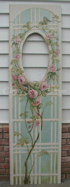 C.Repasy~ painted rose lattice for my booth at The Vintage Marketplace show March 1st,2nd&3rd 2013. Would look good with silk flowers.