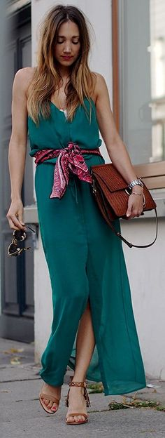 Green Cami Maxi Dress + brown purse. Street women fashion outfit clothing style apparel @roressclothes closet ideas