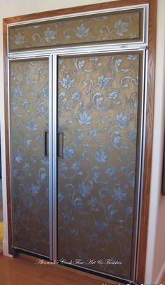 Stenciling on a refrigerator! Lusterstone with Modello® Designs stencil pattern on Sub Zero fridge to update old oak doors