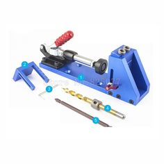 Woodworking Tool Pocket Hole Jig Woodwork Guide Repair Carpenter Kit System With Toggle Clamp and Step Drilling Bit CP527