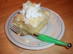 Made with yellow cake mix, milk, cream cheese, instant vanilla pudding mix, crushed pineapple, cool whip, nuts | CDKitchen.com