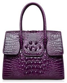 527be70d3ec PIJUSHI Top Handle Satchel Handbags Crocodile Women Leather Purse (Big size  27007, violet)