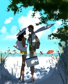 The Art Of Animation, Pascal Campion - . Beach Illustration, Family Illustration, Couple Drawings, Art Drawings, Pascal Campion, Photo Couple, Anime Scenery, Illustrations, Bunt