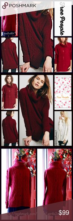 """FREE PEOPLE TUNIC SWEATER Distressed Pullover 💟NEW WITH TAGS💟 RETAIL PRICE: $128  Free People 'LOVE WORN' CABLE TURTLENECK SWEATER  * Distressed rip-and-repair texture  * Cowl Neck Turtleneck  * Long sleeves w/cuffs  * About 28"""" long  * Oversized & relaxed loose knit slouchy fit  * Incredibly soft & cozy   Fabric:Luxe Nylon, Wool, Alpaca blend (not scratchy at all) Color: Deep Berry Item#   🚫No Trades🚫 ✅ Bundle Discounts/Offers Considered*✅ *Please use the blue 'offer' button to submit…"""