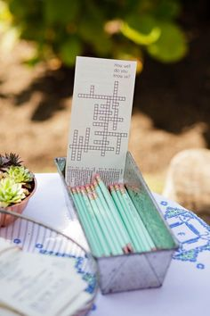 """""""How well do you know us"""" cross word for wedding guests 